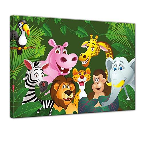 (Bilderdepot24 Kunstdruck - Kinderbild Dschungeltiere Cartoon IV - Bild auf Leinwand - 80x60 cm Einteilig - Leinwandbilder - Bilder als Leinwanddruck - Wandbild Kinder - Gruppenbild von Wilden Tieren)