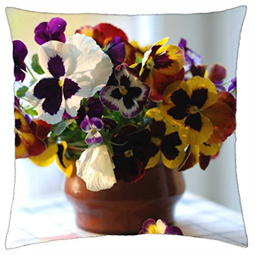 Pansy Bouquet (Nice and fresh pansies bouquet - Throw Pillow Cover Case (18