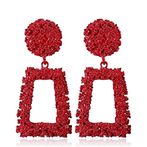 Presock Pendientes Mujer,Aretes Luxury Metal Long Big Drop Earrings For Women Girl Fashion Charm Party Exaggerated Vintage Earring Jewelry NEW Gift Red