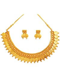 Touchstone Gold Plated Faux Pearl Temple & Coin Necklace Set For Women