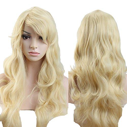 (S-noilite® Wie Echthaar Damen Lang Haar Perücken Mode Gelockt Gewellt Perücke Täglich Cosplay Partei Party Kostüm Wig - Bleach blond)
