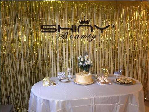shinybeauty Folie Fransen gold-30ftx8ft, Lametta Folie Fransen Hintergrund/Vorhang für Türen, Fenster, Vorhang, Wand Deko, Party Accessoire