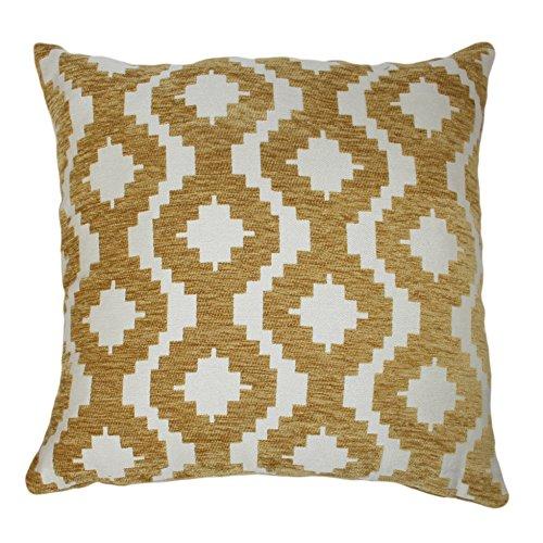 McAlister Textiles Aztec Kollektion | Extragroßes Zierkissen im Geometrischen Arizona-Muster mit Füllung | 60cm x 60cm in Ockergelb | Deko Kissen für Sofa, Bett, Couch Jacquard Chenille