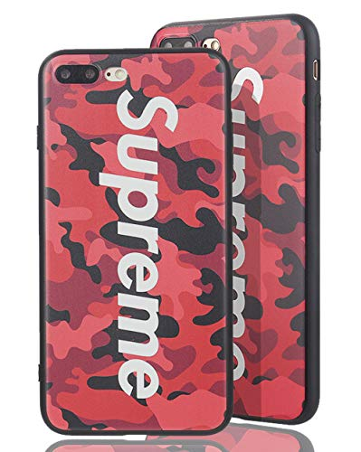 SUP Camo Case [ Kompatibel mit Apple iPhone 7 Plus / 8 Plus, in Rot ] Supreme Hülle im Camouflage Design - Army Tarnmuster - Fühlbares 3D-Motiv (Supreme Case)