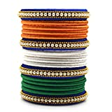 Indi Creation Silk Thread Bangles Set For Women Girl Republic Day Jewellery Tri Color Bangles Handmade Silk Dori Bangles Set (Pack Of 16) (Size - 2.2 Inch)