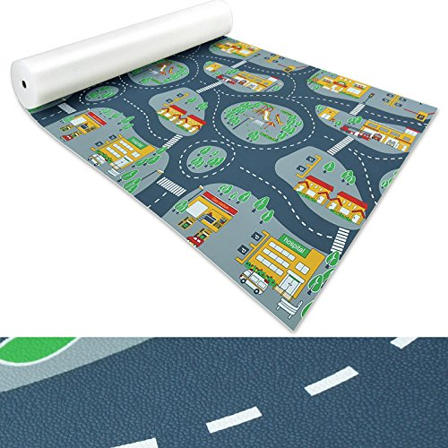 Spielmatte für Kinder mit Straßen und Häuser | schadstofffrei gemäß REACH | abwaschbar | rutschfester Kinderspielteppich | zahlreiche Größen | Feuerwehr Blau-Grau | 140x200 cm