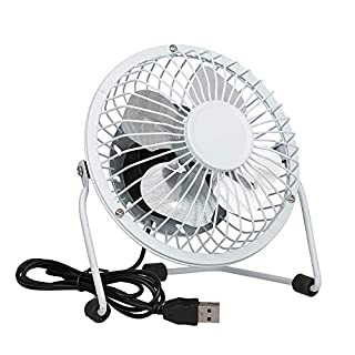 Invero® Mini USB Tilting Desktop Cooling Fan with Metal Shell and Aluminium Blades ideal for Home, Office, Laptops, Notebooks, Desktop PC's and more - Simple Plug & Play - White