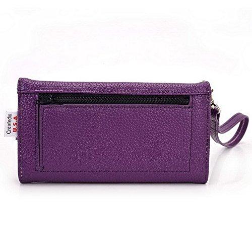 Kroo Pochette Téléphone universel Femme Portefeuille en cuir PU avec dragonne compatible avec LG Lancette/Tribute 2 noir - noir Violet - violet