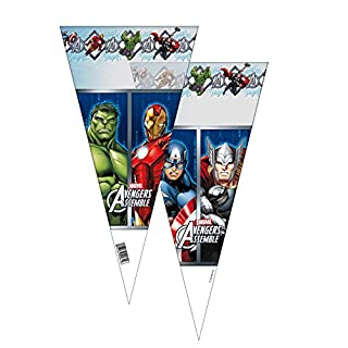 ALMACENESADAN 2359; Pack 6 Aveneger cone bags; the Avengers; ideal for parties and birthdays; bags for jellybeans or gifts; plastic product; dimensions 20x40 cm