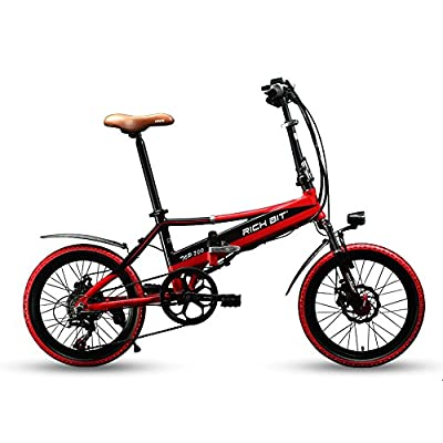 Richbit New RT700 20'' Folding Electric Bike 250 Watt Motor Shimano TZ 7 Speeds 48V 8A Lithium-Ion Battery Ebike Mechanical Disc Brakes with USB Cell Phone Recharger GPS Holder by Xinhuan