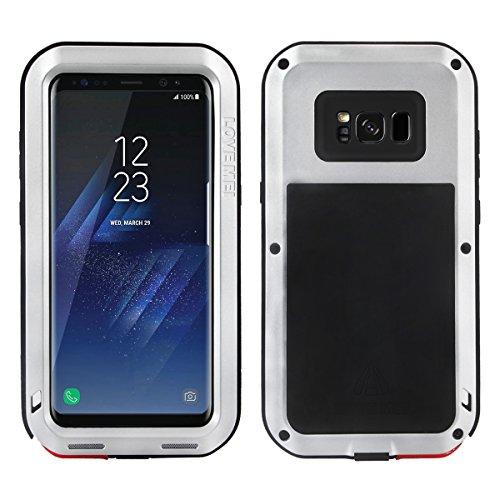 Alienwork Schutzhülle für Samsung Galaxy S8 geeignet für Fingerabdruck Hülle Case Bumper Stoßfest Staubdicht Schneedicht Metall silber SGS801-02