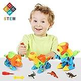 Fansteck Demontage Dino Spielzeug, 3er Auseinander Nehmen Dinosaurier Konstruktionsspielzeug Set für Kinder ab 3 Jahre, Kinder Werkzeugkoffer mit 6 Schraubenzieher, 3 Mini Dino und 3 Aufkleber