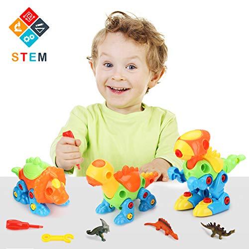 Fansteck 3 pack dinosauro giocattolo dino rimovibile giochi di costruzione regalo ideale per bambini oltre 3 annicon 3 piccoli dinosauri in plastica morbida e 3 adesivi