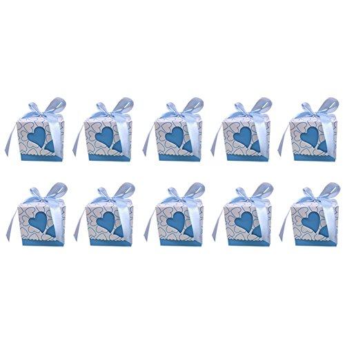 Monbedos 10 Candy Box mit Spitzenband Persönlichkeit Geschenk Papier Box Keks Kiste Deko behandelt Boxen für Kinder Geburtstag Baby Dusche Gäste Hochzeit Party Supplies, Blau, 7 x 7 x 7 cm