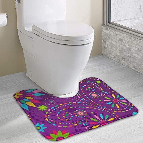 Hoklcvd Personalisierte Toilette Teppich-Schöne Blumen WC U-förmige MatCartoon weiche Matte Dusche Boden Teppich Badezimmer - Gedruckt Badezimmer-teppiche