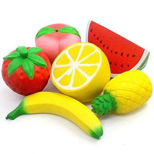 Semoic 6 Stueck Riesen langsamer steigende Erdbeer-Pfirsich-Banane Zitrone Wassermelone Ananas Anhaenger Fruchtcreme Duft Stress Relief Kawaii Spielzeug Fuer Kinder und Erwachsene -