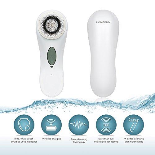 Hangsun Cepillo Facial SC100 Limpieza Facial Eléctricos Para Limpieza de Cutis Casera Con 2 Cabezas de Cepillo + WaterProof + Función de Masaje