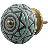 IndianShelf Handmade Ceramic Etched Cabinet Knobs Etched Drawer Pulls Kitchen Handles(Green, 1.5 Inches)-Pack of 2