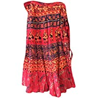 Mogul Interior Indian Beach Wrap Skirt Red Ethnic Block Printed Wrap Dress Skirts