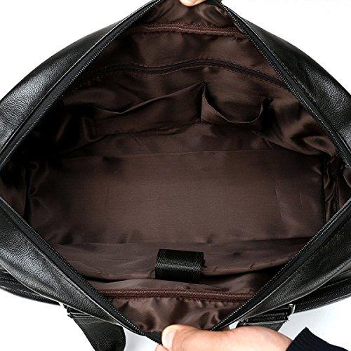 Männer Große Beutelhandtasche Freizeit-Spielraumbeutel Große Kapazität Schulter Diagonale Lederne Tasche Black