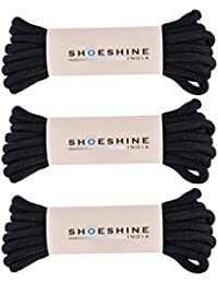 Shoeshine India round shoelaces casual shoe lace hiking trekking boot laces (Pack of 3)