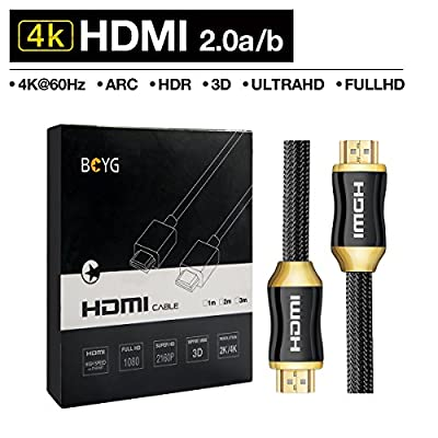 4K Câble HDMI 2.0A High Speed,Support 4K Ultra HDTV , UltraHD, FullHD ,HDR, Ethernet, 3D et ARC-CEC pour TV,Ordinateurs Portables,PS3/PS4, Xbox, Projecteur, Moniteur, DVD BlueRay,AV-Receiver 1/2/3/5M par BOYG