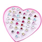 36 Stück Kristall Kinder Ringe einstellbar Schmuck mit rosa Schmuckkästchen
