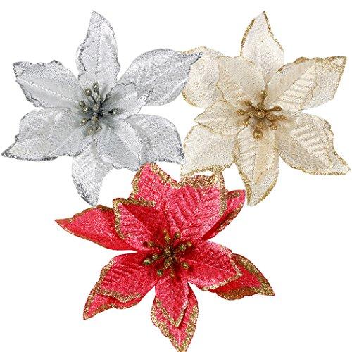 Ornamento Di Albero Di Natale, Outgeek 24Pcs Glitter Fiore Artificiale Fiori  Di Albero Di Natale Ornamento Di Decorazione Fiore Falso Di Natale    Orpelli E ...