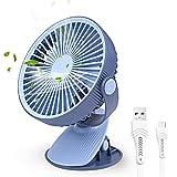 FOCHEA Ventilador USB, Mini Ventilador Pinza Portatil Ventilador Silencioso Recargable Girar 360° para Casa, Oficina, Coche, Carrito de Bebé, Viajar, Cámping (Azul)