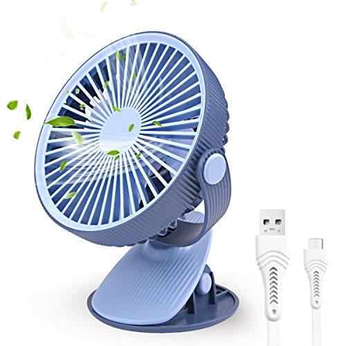 FOCHEA Ventilateur USB, Mini Ventilateur Silencieux Portable Rechargeable, Rotation 360° de Ventilateur à Pince pour Maison, Bureau,Poussette, Voiture, Voyage,Camping (Bleu)