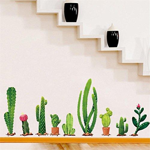 DIY cactus lindo pegatinas de pared - Saihui familia extraíble arte mural decal para la habitación de los niños dormitorio escaleras decoración pegatina (A)