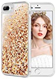 wlooo Funda para iPhone 8 Plus, Fundas iPhone 7 Plus, Glitter liquida Gradiente Silicona TPU Bumper Case Brillante Arena movediza Carcasa para iPhone 6 Plus/6s Plus/7 Plus/8 Plus (Oro Plata)