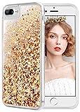 wlooo Coque pour iPhone 6 Plus, Glitter Liquide Paillette Protection TPU Bumper Silicone Housse Étincelle Pente Antichoc Souple Brillante Étui pour iPhone 6 Plus/6s Plus/7 Plus/8 Plus (Or Argent)