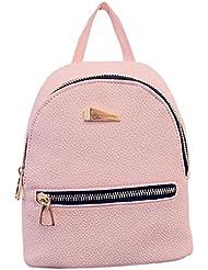 Tongshi Nuevo recorrido del morral del bolso de escuela de la mochila de la mujer (Rosado)