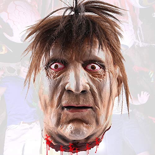 jxjarnet Halloween-Requisite Horror Latex hängend abgenommen Kopf Böser Kopf Lebensgröße Haunted Grusel blutig Halloween Dekorationen menschliche Körperteile 03
