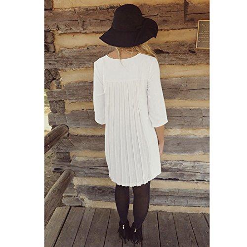 M-Queen Femme Mini Robe Dress Blouse Automne Manches Longues Col Rond Tunique Chemisier Long Tops Robe Blanc