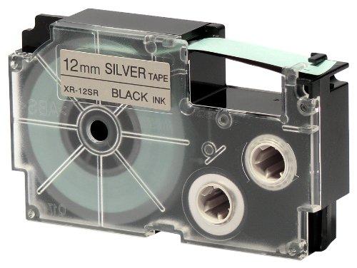 CASIO EZ-Label Printer XR-12SR1 Schriftband selbsthaftend 12 mm x 8,0 m schwarz auf silber