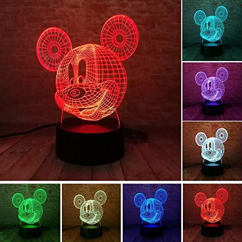 Heiße 3D Figur Cartoon Kawaii Stich Minnie Mickey Roboter Prinzessin Königin Elsa Mädchen 7 Farbe Rgb Led Nachtlicht Kind Geschenke