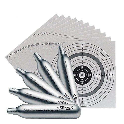 Set: 5 Walther CO2 Wartungskapseln / Kapseln 12g für CO2 Waffen (4.1683) + 25 original ShoXx.® Zielscheiben 14x14 cm mit 250 g/m² und spezieller Struktur