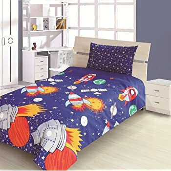 Children's Kids DOUBLE BED SIZE ROCKET DESIGN BOYS DUVET COVER AND  PILLOWCASE SET By Viceroybedding