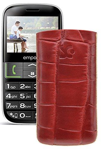 Original Suncase Tasche für / Emporia EUPHORIA V50 / Leder Etui Handytasche Ledertasche Schutzhülle Case Hülle - Lasche mit Rückzugfunktion* In Croco-Rot