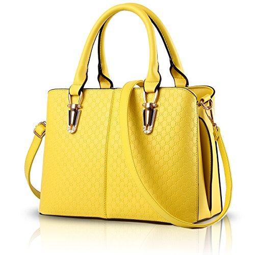 Tisdain Borsa a tracolla borsa in pelle goffrata borsa qualità Ms. borsa raccoglitore dell'unità di elaborazione Messenger bag big bag giallo