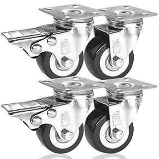 DSL 4 x 50mm PU Heavy Duty Double Bearing 2 Castor + 2 Braked Rubber Swivel Castor Wheel Trolley Furniture Caster 240KG