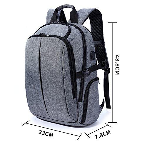 Imagen de  daypack con carga usb pot, casual   portátil bolsa con 17pulgadas negro para la escuela, negocios, viajes gris gris alternativa