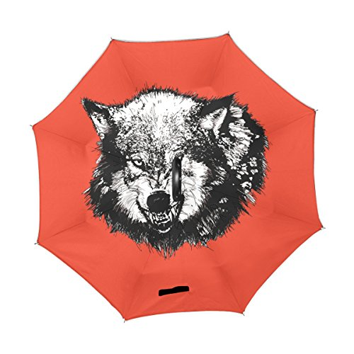 LEISISI Angry Wolf Head Graphics Double Layer Wind Proof,UV Proof Folding Reverse Inverted Umbrella Travel Umbrella with C Shape Handle
