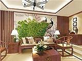 Wxlsl 3D Foto Tapete Benutzerdefinierte Wandbild Wohnzimmer Jade Carvings Pfauen Bild Sofa Tv Hintergrundbild Für Die Wand-150cmx105cm