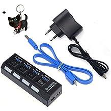 Malloom® 4 puertos USB 3.0 HUB con On/Off interruptor adaptador Por escritorio del ordenador portátil