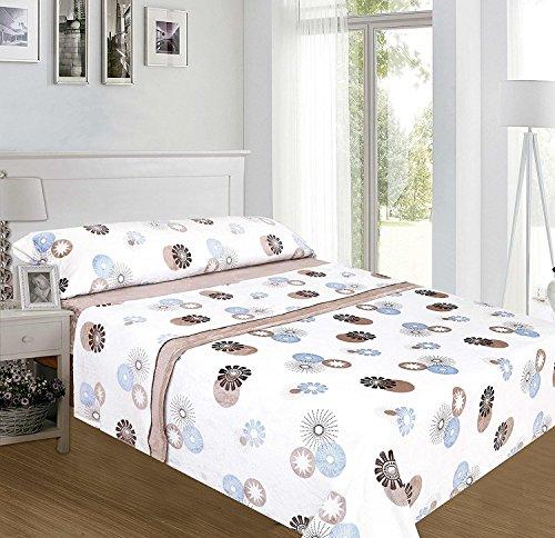 ForenTex - Juegos de sábanas, (HX-4018), Café con Leche, cama 150 cm, con tacto seda de sedalina, nacarina, de 250 gr/m2, ultra suaves,