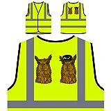 Alpaka hipster charakter lustiges lächeln Personalisierte High Visibility Gelbe Sicherheitsjacke Weste g679v