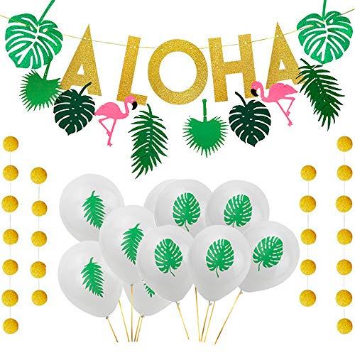 Aisamco Hawaiian Aloha Partydekorationen Große Goldglittery Aloha Banner mit 10 Stück Tropische Palmblatt-Thema-Ballons, 1 Stück Flamingo-Banner für Aloha Theme Party Luau Party Supplies